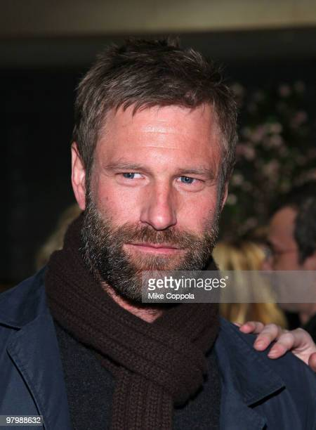 Actor Aaron Eckhart attends Grayce by Molly Sims the Collection at Henri Bendel on March 23 2010 in New York City