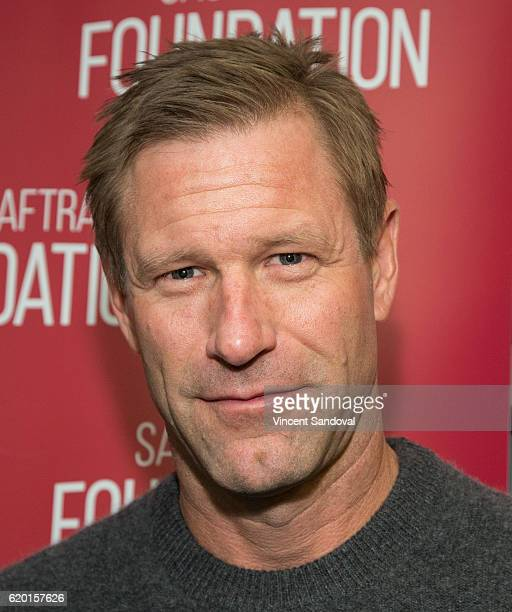 Actor Aaron Eckhart attends SAGAFTRA Foundation's Conversations with 'Bleed For This' at SAG Foundation Actors Center on November 1 2016 in Los...
