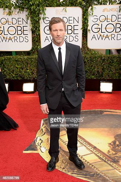 Actor Aaron Eckhart attends the 71st Annual Golden Globe Awards held at The Beverly Hilton Hotel on January 12 2014 in Beverly Hills California