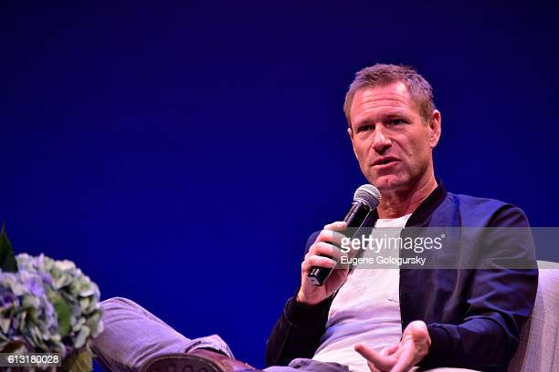 Actor Aaron Eckhart attends the Conversation with Aaron Eckhart during The Hamptons International Film Festival 2016 at Guild Hall on October 7 2016...