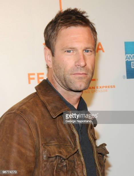 """Actor Aaron Eckhart attends the """"Freakonomics"""" premiere during the 9th Annual Tribeca Film Festival at the Tribeca Performing Arts Center on April..."""