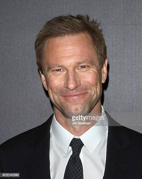 Actor Aaron Eckhart attends the premiere of 'Bleed For This' hosted by Open Road with Men's Fitness at AMC Lincoln Square Theater on November 14 2016...