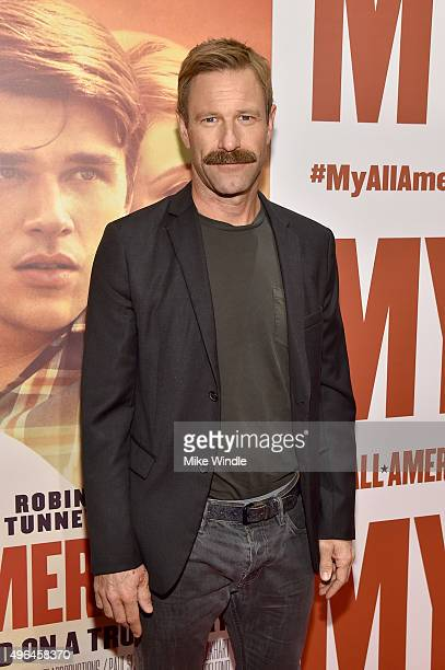 Actor Aaron Eckhart attends the premiere of Clarius Entertainment's 'My All American' at The Grove on November 9 2015 in Los Angeles California