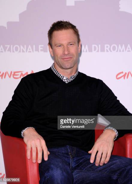 Actor Aaron Eckhart attends the 'Rabbit Hole' photocall during the 5th International Rome Film Festival at Auditorium Parco Della Musica on November...