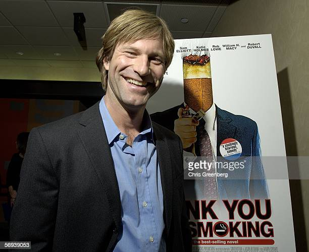 "Actor Aaron Eckhart, co-star of the Jason Reitman film ""Thank You For Smoking,"" pauses for photographs after introducing the film to an audience on..."