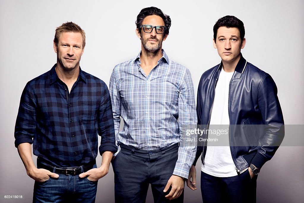 Actor Aaron Eckhart, director Ben Younger, and actor Miles Teller, from the film Bleed For This, pose for a portraits at the Toronto International Film Festival for Los Angeles Times on September 12, 2016 in Toronto, Ontario.