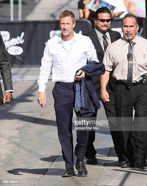 Actor Aaron Eckhart is seen on August 31 2016 arriving at Jimmy Kimmel Live in Los Angeles CA