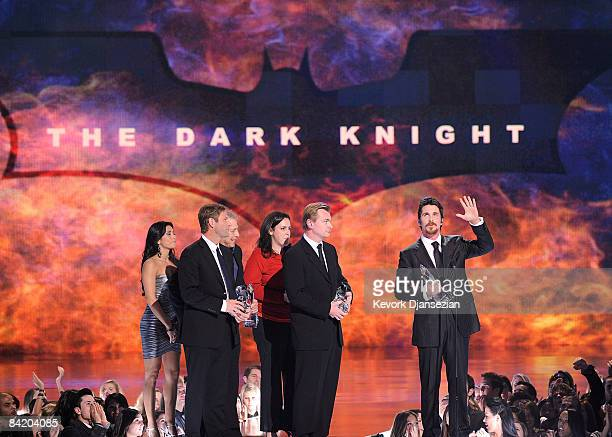 Actor Aaron Eckhart producers Director Christopher Nolan and actor Christian Bale accept multiple awards for The Dark Knight during the 35th Annual...