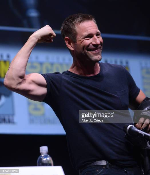 Actor Aaron Eckhart speaks onstage at the Lionsgate preview featuring 'I Frankenstein' and 'The Hunger Games Catching Fire' during ComicCon...