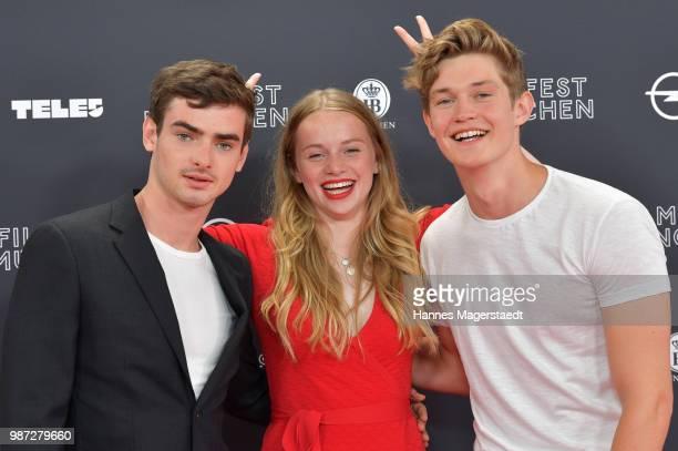 Actor Aaron Hilmer Luna Wedler and Damian Hardung attend the premiere of the movie 'Das schoenste Maedchen der Welt' of Munich Film Festival 2018 at...