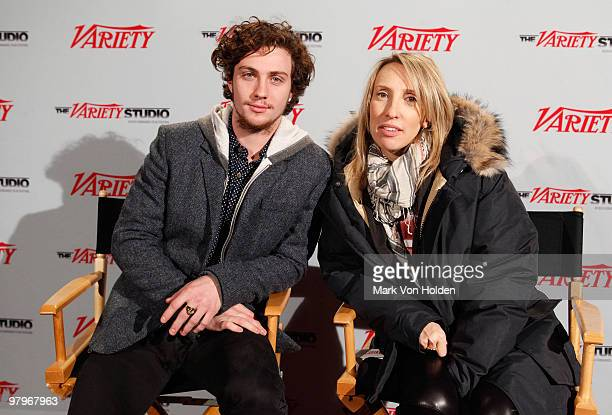 Actor Aaron Johnson and director Sam Taylor Wood attend the Variety Studio at Sundance Day 4 on January 25 2010 in Park City Utah