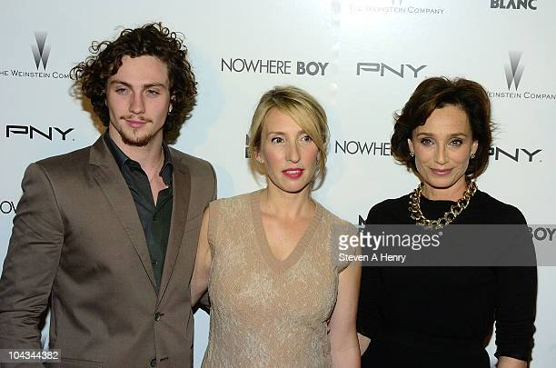 Actor Aaron Johnson director Sam Taylor Wood and actress Kristen Scott Thomas attends the Nowhere Boy premiere at the Tribeca Performing Arts Center...