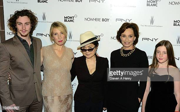 Actor Aaron Johnson director Sam Taylor Wood musician Yoko Ono actress Kristen Scott Thomas and actress Angelica Jopling attends the 'Nowhere Boy'...