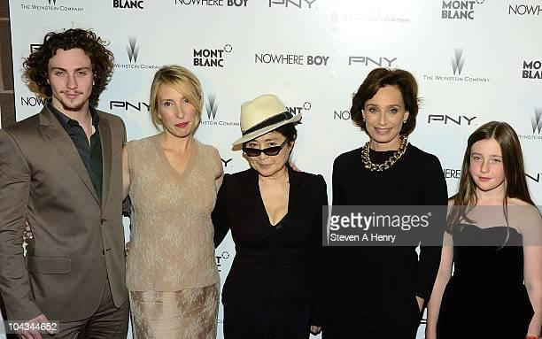 Actor Aaron Johnson director Sam Taylor Wood musician Yoko Ono actress Kristen Scott Thomas and actress Angelica Jopling attends the Nowhere Boy...