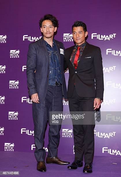 Actor Aaron Kwok and actor Chang Chen promote 'Port Of Call' Press Conference during the Hong Kong International Film Festival 2015 on March 24 2015...