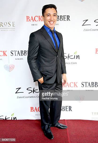 Actor Aaron Orens attends the red carpet premiere for the new Amazon series 'Back Stabber' at the Ambrose Boutique Hotel on June 23 2016 in Santa...