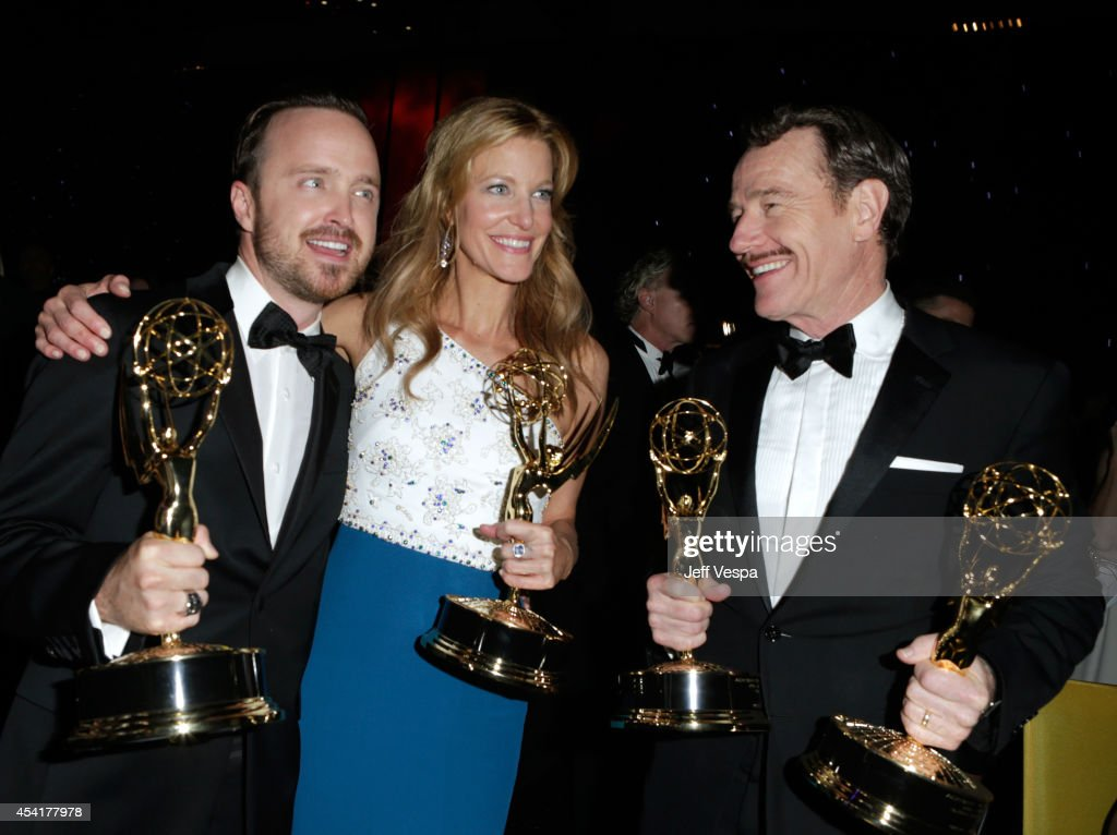 Actor Aaron Paul, actress Anna Gunn and actor Bryan Cranston attend the 66th Annual Primetime Emmy Awards Governors Ball held at Los Angeles Convention Center on August 25, 2014 in Los Angeles, California.