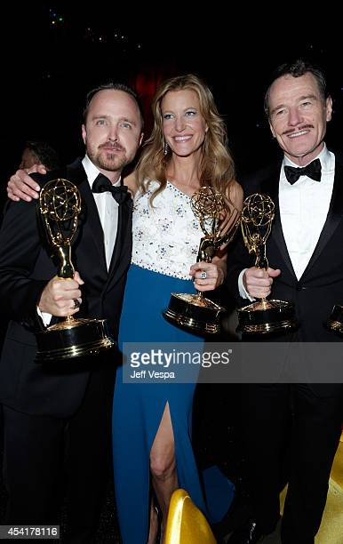 Actor Aaron Paul actress Anna Gunn and actor Bryan Cranston attend the 66th Annual Primetime Emmy Awards Governors Ball held at Los Angeles...