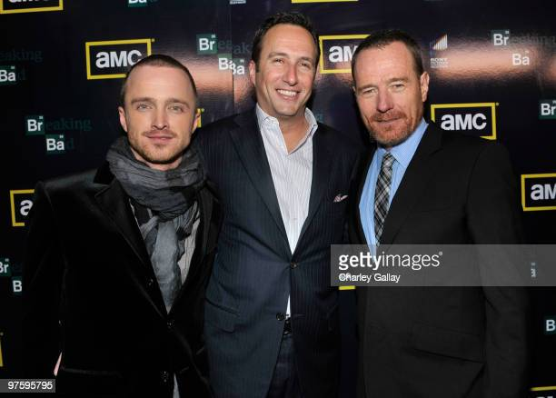 Actor Aaron Paul, AMC president Charlie Collier, and actor Bryan Cranston attend the Season Three premiere of AMC and Sony Pictures Television's...