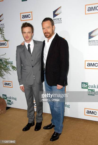 Actor Aaron Paul and actor Bryan Cranston arrive at the Premiere Screening of AMC's new Sony Pictures' Television drama Breaking Bad held on January...