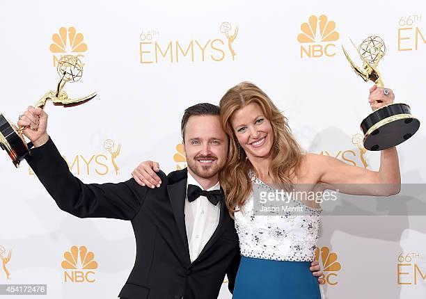 Actor Aaron Paul and actress Anna Gunn winners of Outstanding Drama Series Award Outstanding Supporting Actor in a Drama Series Award and Outstanding...