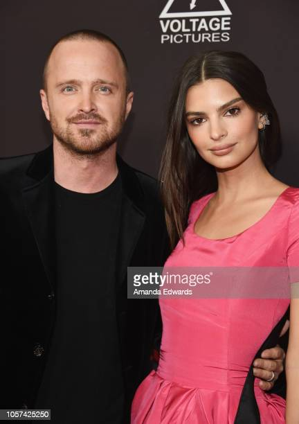 "Actor Aaron Paul and actress Emily Ratajkowski arrive at the ""Welcome Home"" premiere at The London West Hollywood on November 4, 2018 in West..."