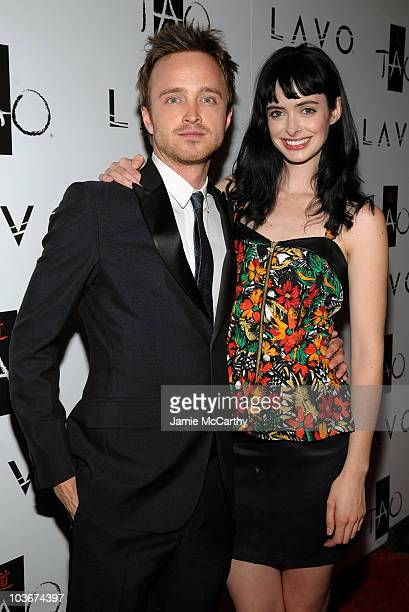 Actor Aaron Paul and actress Krysten Ritter attend the TAO and LAVO anniversary weekend held at TAO in the Venetian Resort Hotel Casino on October 3...
