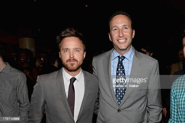 Actor Aaron Paul and AMC President and General Manager Charlie Collier attend the 'Breaking Bad' NY Premiere 2013 after party at Lincoln Ristorante...