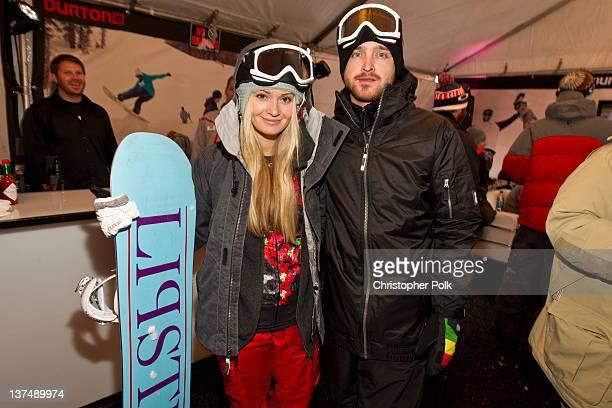 Actor Aaron Paul and fiance Lauren Parsekian at the Burton Lounge at Park City Mountain Resort on January 21 2012 in Park City Utah