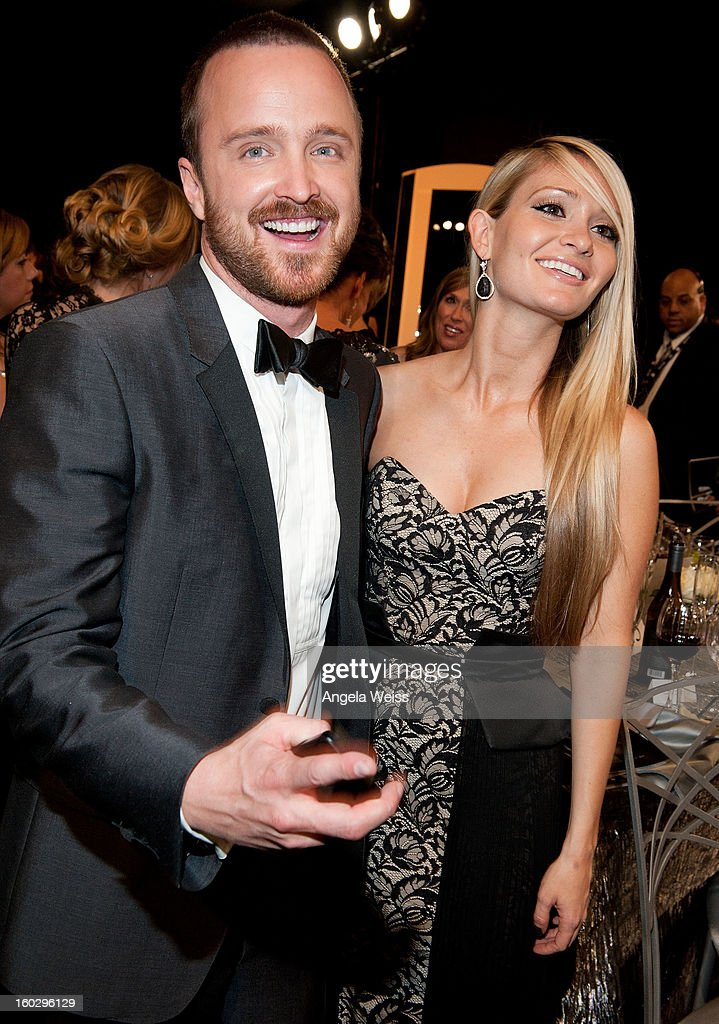 Actor Aaron Paul and fiancŽe Lauren Parsekian attend the 19th Annual Screen Actors Guild Awards at The Shrine Auditorium on January 27, 2013 in Los Angeles, California.