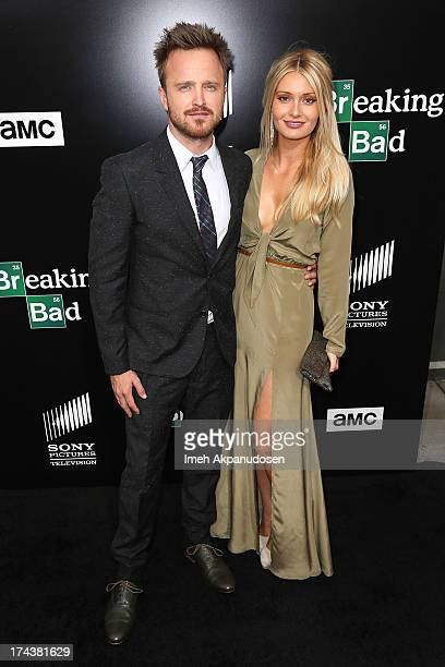 Actor Aaron Paul and his wife Lauren Parsekian arrive as AMC Celebrates the final episodes of 'Breaking Bad' at Sony Pictures Studios on July 24 2013...