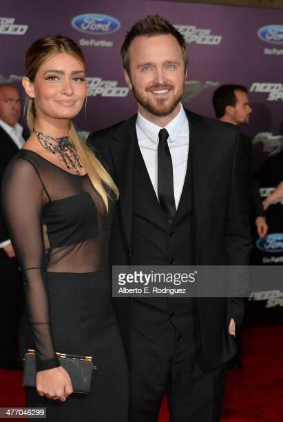"""Actor Aaron Paul and his wife Lauren Parsekian arrive for the premiere of DreamWorks Pictures' """"Need For Speed"""" at TCL Chinese Theatre on March 6,..."""