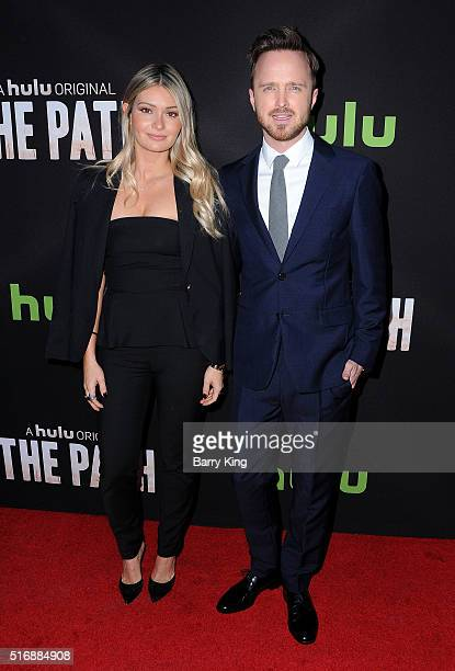 Actor Aaron Paul and his wife Lauren Parsekian attend the premiere of Hulu's 'The Path' at ArcLight Hollywood on March 21 2016 in Hollywood California