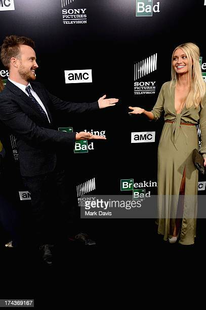 Actor Aaron Paul and Lauren Parsekian arrive as AMC Celebrates the final episodes of 'Breaking Bad' at Sony Pictures Studios on July 24 2013 in...