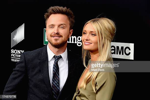 """Actor Aaron Paul and Lauren Parsekian arrive as AMC Celebrates the final episodes of """"Breaking Bad"""" at Sony Pictures Studios on July 24, 2013 in..."""