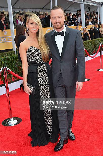 Actor Aaron Paul and Lauren Parsekian arrive at the 19th Annual Screen Actors Guild Awards held at The Shrine Auditorium on January 27, 2013 in Los...