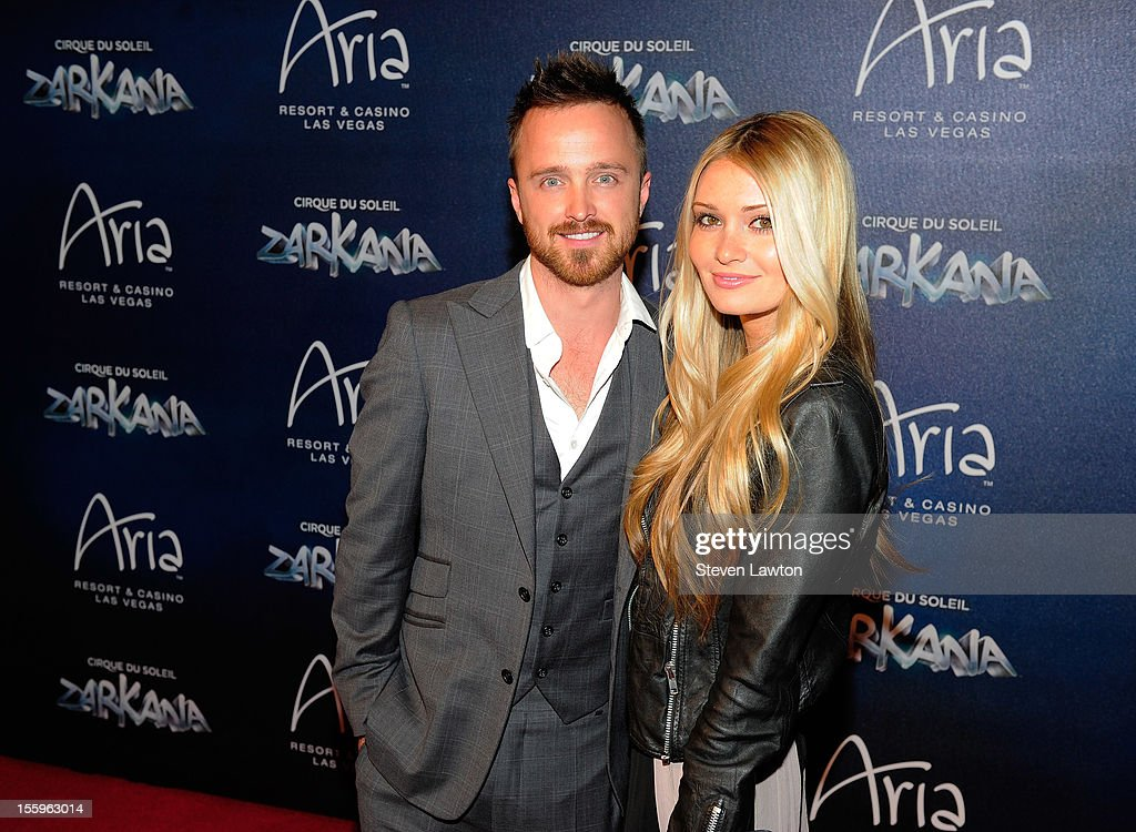Actor Aaron Paul and Lauren Parsekian arrive at the Las Vegas premiere of 'Zarkana by Cirque du Soleil' at the Aria Resort & Casino at CityCenter on November 9, 2012 in Las Vegas, Nevada.