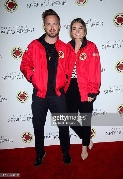 Actor Aaron Paul and Lauren Parsekian attend City Year Los Angeles Spring Break at Sony Studios on April 25 2015 in Los Angeles California