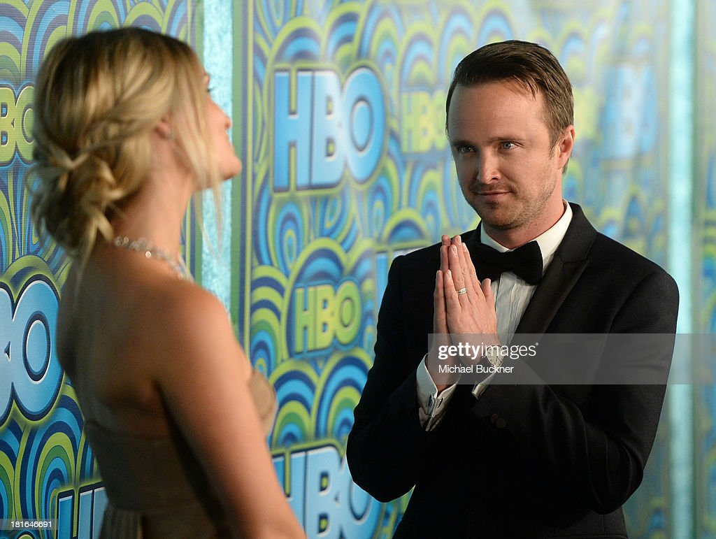 Actor Aaron Paul (R) and Lauren Parsekian attend HBO's Annual Primetime Emmy Awards Post Award Reception at The Plaza at the Pacific Design Center on September 22, 2013 in Los Angeles, California.