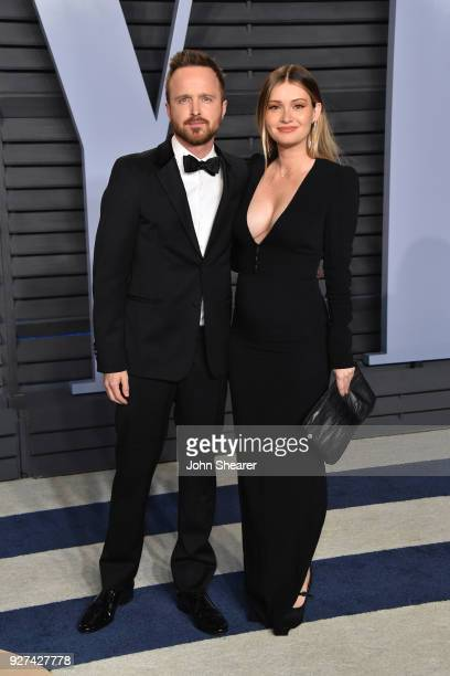 Actor Aaron Paul and Lauren Parsekian attend the 2018 Vanity Fair Oscar Party hosted by Radhika Jones at Wallis Annenberg Center for the Performing...
