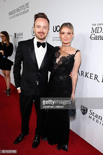 Actor Aaron Paul and Lauren Parsekian attend the launch of the Parker Institute for Cancer Immunotherapy an unprecedented collaboration between the...