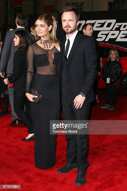 Actor Aaron Paul and Lauren Parsekian attend the 'Need For Speed' Los Angeles premiere held at the TCL Chinese Theatre on March 6 2014 in Hollywood...
