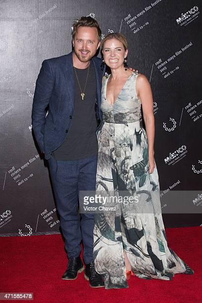 Actor Aaron Paul and Riviera Maya Festival director Paula Chaurand attends the Riviera Maya Film Festival 2015 closing night gala at Hotel Yucatan...