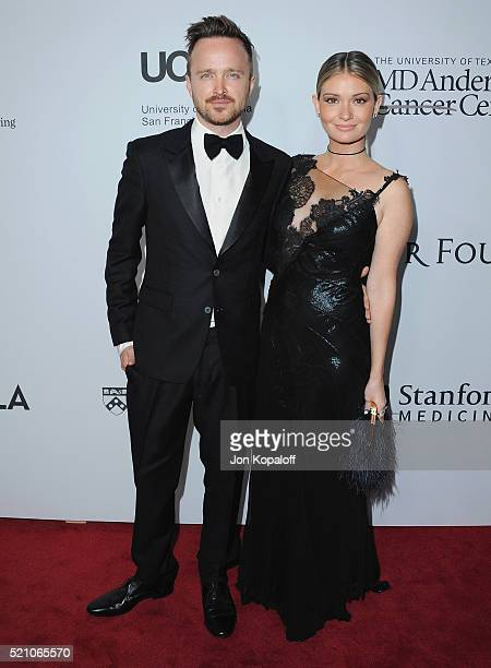 Actor Aaron Paul and wife Lauren Parsekian arrive at Sean Parker And The Parker Foundation Launch The Parker Institute For Cancer Immunotherapy Gala...