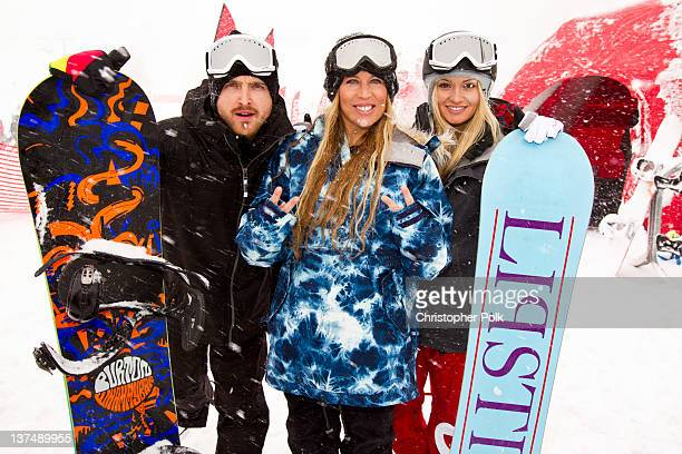 Actor Aaron Paul AnneMarie Dacyshyn and Lauren Parsekian at the Burton Lounge at Park City Mountain Resort on January 21 2012 in Park City Utah