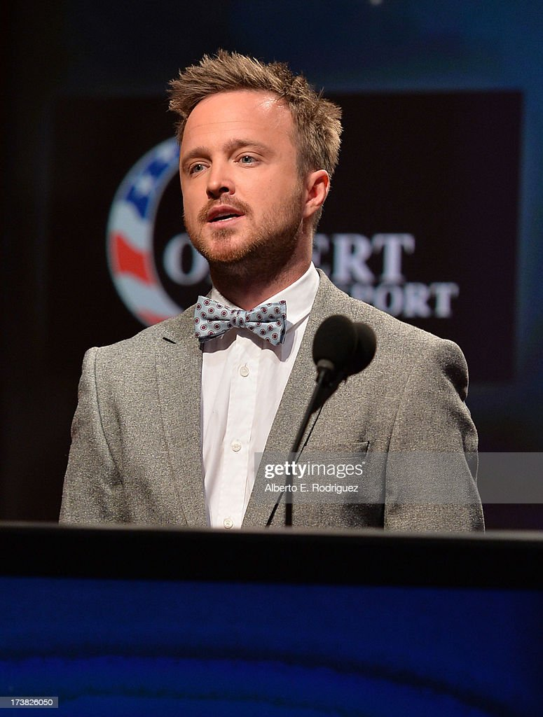 Actor Aaron Paul announces the nominees for the 65th Primetime Emmy Awards nominations at the Television Academy's Leonard H. Goldenson Theatre on July 18, 2013 in North Hollywood, California.