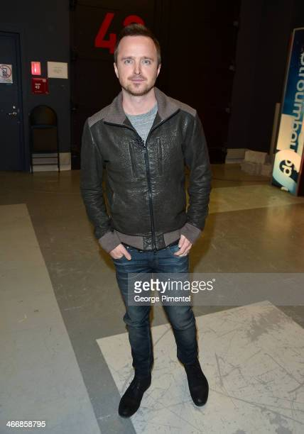 Actor Aaron Paul appears on 'George Stroumboulopoulos Tonight' at CBC Broadcast Centre on February 3 2014 in Toronto Canada