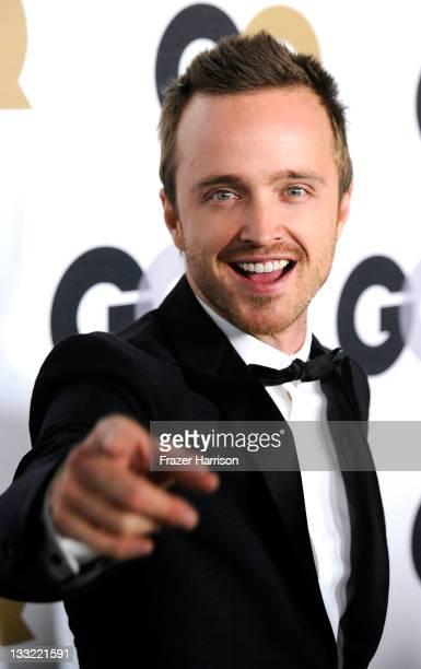 "Actor Aaron Paul arrives at the 16th Annual GQ ""Men Of The Year"" Party at Chateau Marmont on November 17, 2011 in Los Angeles, California."