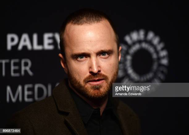 "Actor Aaron Paul arrives at the Paley Center For Media's presentation of Hulu's ""The Path"" Season 3 Premiere at The Paley Center for Media on..."
