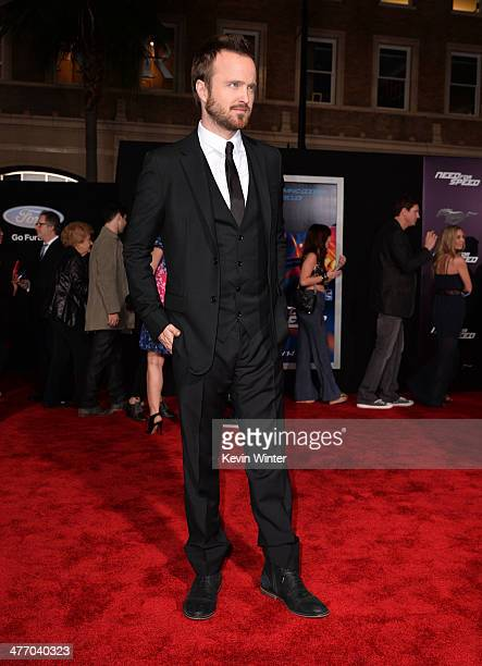 """Actor Aaron Paul arrives at the premiere of DreamWorks Pictures' """"Need For Speed"""" at TCL Chinese Theatre on March 6, 2014 in Hollywood, California."""